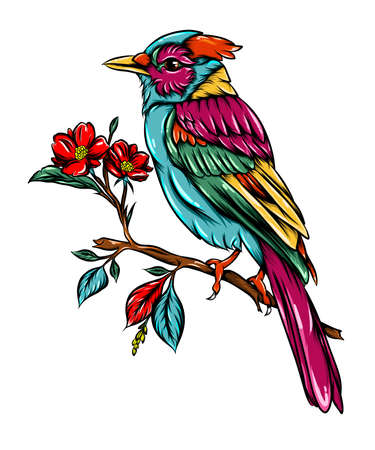 The illustration of the blur jay bird  with the good colour is sitting on the small branch tree beside the flowers