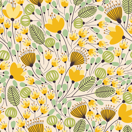Elegant seamless pattern with flowers, vector illustration