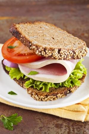 Healthy whole grain bread sandwich with ham