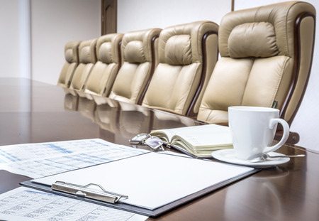 Photo pour Business papers in conference room before meeting in office - image libre de droit
