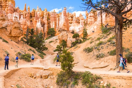 People on hiking trip in Bryce Canyon National Park, Utah, USA