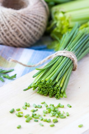 Bunch of green spring chives bow tied with ribbon, fresh vegetables