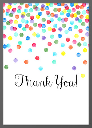 Vector illustration of Thank You card decorated with watercolor confetti