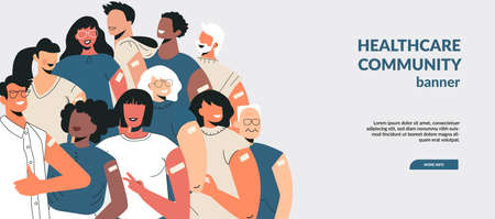 Illustration pour Diverse people after vaccine injection concept. Banner Lets Vaccinate, healthcare campaign. Vaccination landing page template. Multicultural team, unity in diversity. Flat vector cartoon illustration - image libre de droit