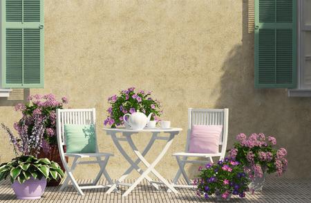 Foto de beautiful terrace with white furniture - Imagen libre de derechos