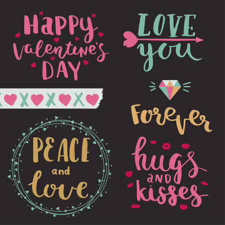 Illustration for Happy valentines day. Love you. Peace and love. Forever. Hugs Vector photo overlays of valentines day, hand drawn lettering collection. - Royalty Free Image
