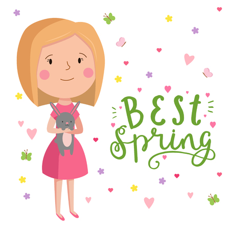 Cute Vector Illustration Of Beautiful Girl With Bunny Trendy Illustration Young Girl For Different Design Lettering Sing Best Spring Royalty Free Vector Graphics