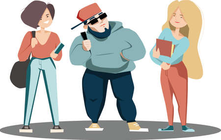 Illustration pour vector flat illustration of students standing isolated - image libre de droit