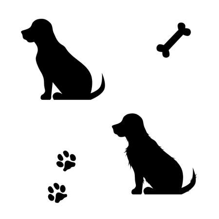 Illustration pour Vector silhouette of a dog on a white background. - image libre de droit