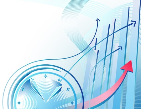 Foto de Abstract illustration with clock and business chart  - Imagen libre de derechos