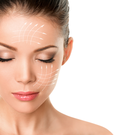 Photo pour Face lift anti-aging facial treatment skin care product lifing sagging skin removing wrinkles for beauty woman. Arrow lines drawing on face. - image libre de droit