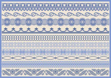 Ilustración de Vintage decorative border set. Ornate elements and fringe illustrations. - Imagen libre de derechos