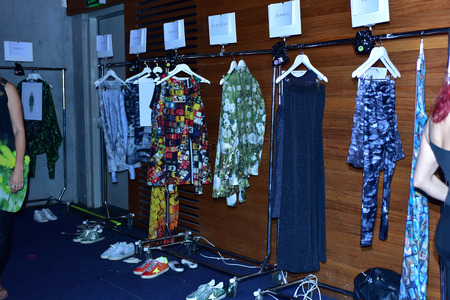 SYDNEY / AUSTRALIA - 20 May: Clothes are ready for models at backstage of House of Cannon fashiob show at Mercedes Benz Fashion Week Australia on 20 May 2016 in Carriageworks Sydney