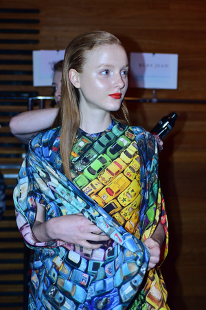 SYDNEY / AUSTRALIA - 20 May: A model gets ready at backstage of House of Cannon fashiob show at Mercedes Benz Fashion Week Australia on 20 May 2016 in Carriageworks Sydney