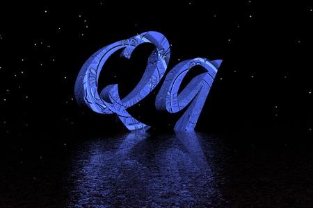 letter q blue
