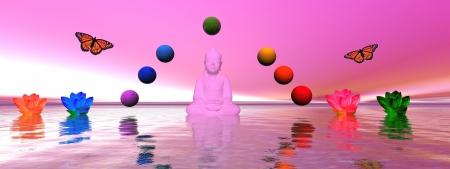 buddha and chakra and lily water