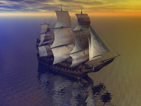 boat merchant and sky orange