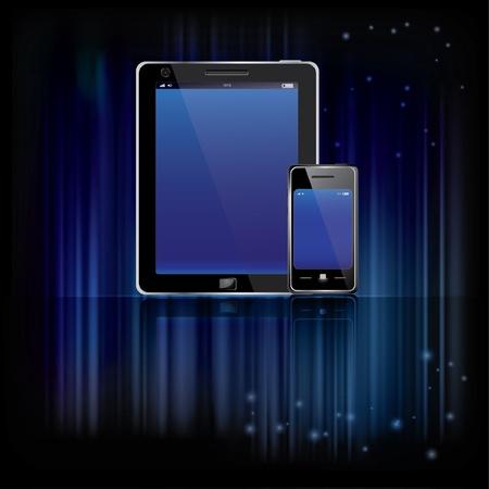 smart phones on the shiny blue background