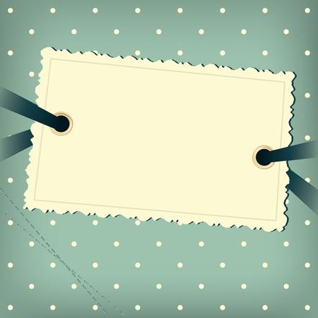 Ilustración de Greeting scrap retro background with empty photo blank. - Imagen libre de derechos