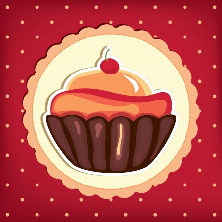 Cute retro cupcake in frame . Polka dots background.