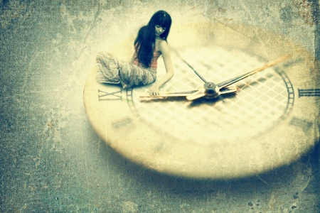 Young woman want to stop time. Old style image
