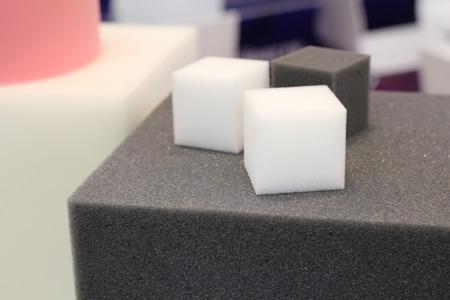Photo pour Brightly colored foam rubber for furniture factories. Polyurethane foam of a soft form. - image libre de droit