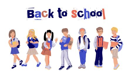 Illustration for Back to school banner or poster with children, schoolboys and schoolgirls characters flat vector illustration background. Cute kids in educational autumn school concept. - Royalty Free Image
