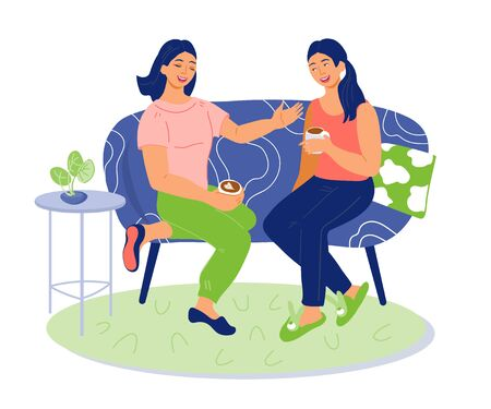 Illustration pour Friend girls sitting on sofa, drinking hot coffee or tea and chatting lively. - image libre de droit