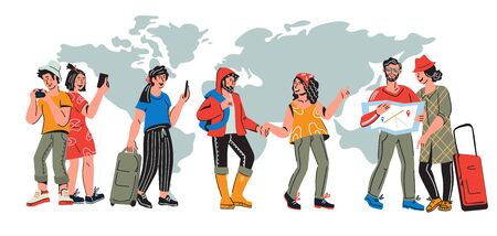 Illustration pour International tourism banner with travelers. Characters of young people traveling around the world at map background. Vacation tour and journey concept. Flat cartoon vector illustration. - image libre de droit