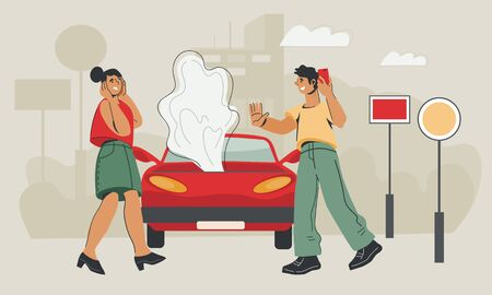 Illustration pour Car service and roadside assistance concept with woman in panic after road accident and man calling online support. Field car repair service. Flat vector illustration. - image libre de droit