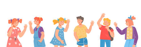 Illustration pour Cute children characters waving hands in greeting gesture. Childrten happy to see elementary school friends or s, kindergarten maters. Kids saying Hi - image libre de droit