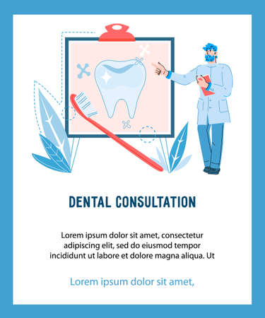 Illustration pour Dentist male character explaining oral care rules. Dental care and dentistry, cartoon vector illustration isolated on white background. - image libre de droit