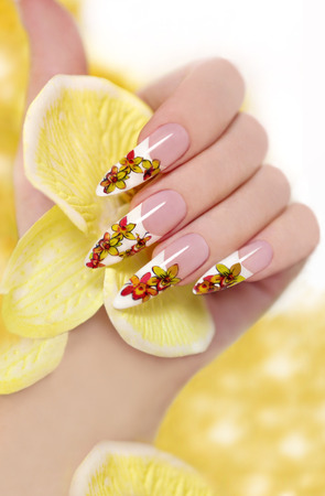 French long nail picture of orchids in the woman s hand の写真素材