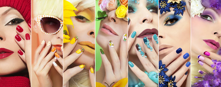 Foto de Rainbow colored makeup and manicure on nails with different designs on the girl for any time of the year. - Imagen libre de derechos