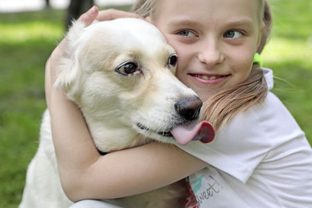 Photo pour Beaved pet. The happiness of communicating with the dog. - image libre de droit