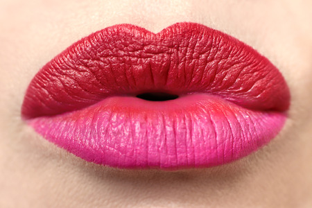 Photo pour Multicolored trendy lipstick with pink and red lipstick closeup. - image libre de droit