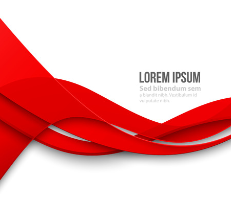 Vector Abstract Red paper curved lines background. Template brochure design
