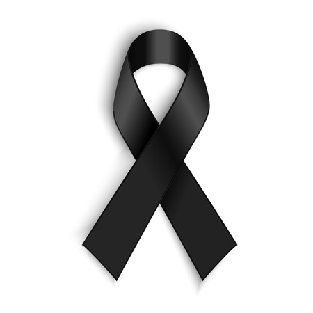 Vector Black awareness ribbon on white background. Mourning and melanoma support symbol.