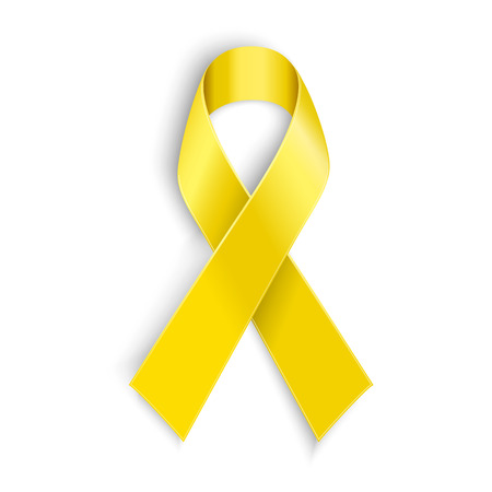 Vector Yellow awareness ribbon on white background. Bone cancer and troops support symbol