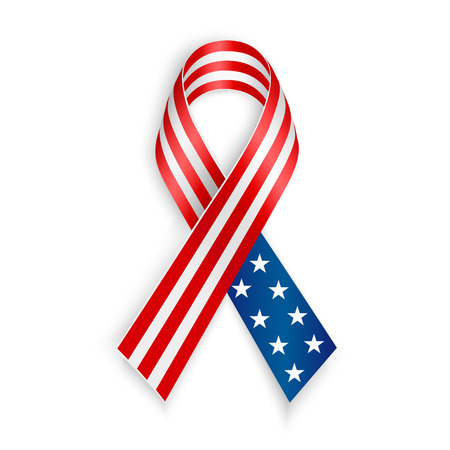 Illustration pour American Flag Ribbon. Patriotic support symbol. Independence and memorial Day - image libre de droit