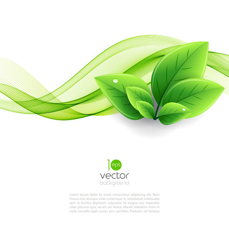 Vector eco leaves and green wave. Abstract ecology backgroundのイラスト素材
