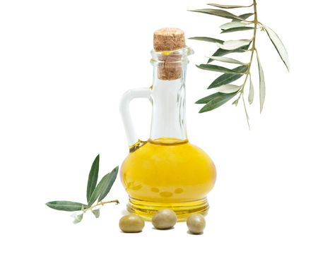 Bottle Of Olive Oil And Olive Fruits Isolated On White