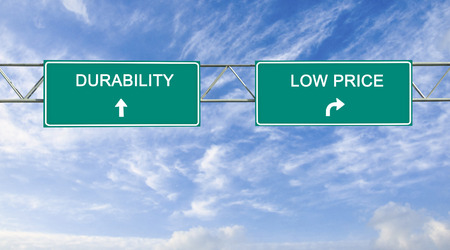 Road sign to durability and low price