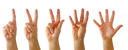 Photo for Hands showing numbers from one to five - Royalty Free Image