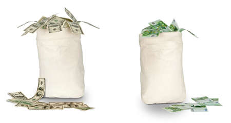 Photo pour Bags with euro and dollars - image libre de droit
