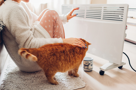 Photo pour Using heater at home in winter. Woman warming her hands sitting by device with cat and wearing warm clothes. Heating season. - image libre de droit