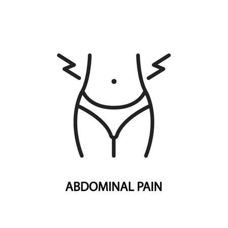 Abdominal pain line flat icon.  illustration stomach pain during menstruation.