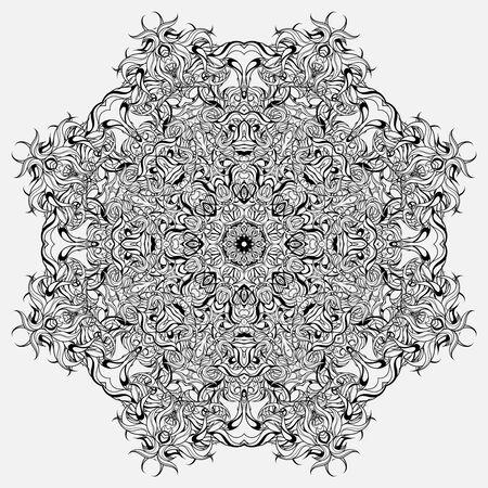 Illustration pour Circle ornament, abstract floral mandala. Design for coloring books. - image libre de droit