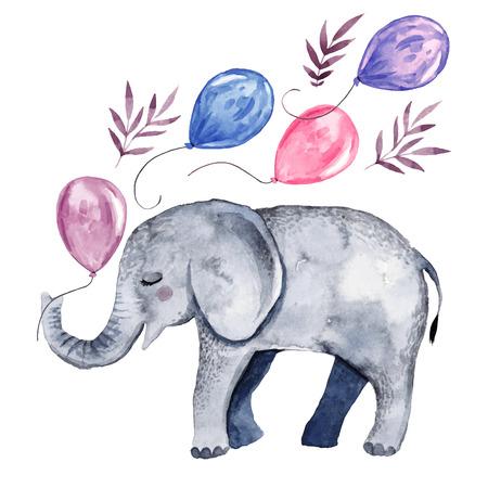 Ilustración de Cute illustration with baby elephant and balloons - Imagen libre de derechos