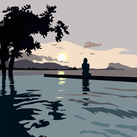 Illustration pour Vector stock illustration of the beach. Postcard about the journey of the travelers and the sea. At sunset, the silhouette of a girl is sitting looking into the distance over the horizon. Admires the - image libre de droit